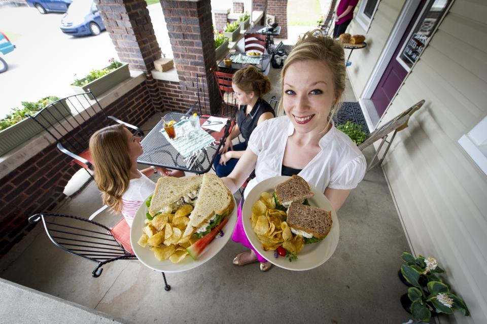 Food being served on porch at Bread Basket Cafe & Bakery