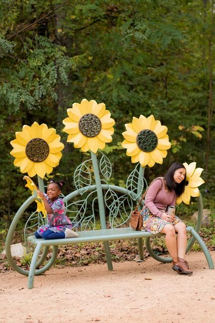 Girls on a bench at the North Carolina Botanical Garden