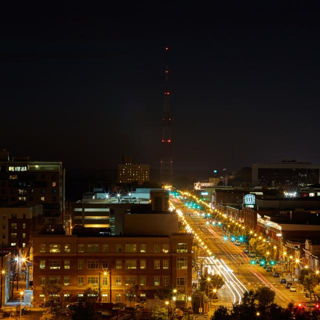 rooftop view at night