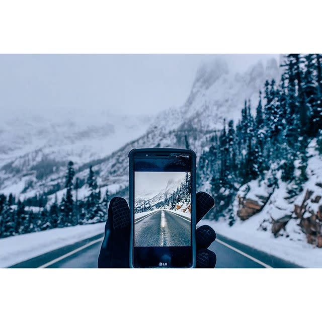 Highway in snow-covered Cascade Mountains