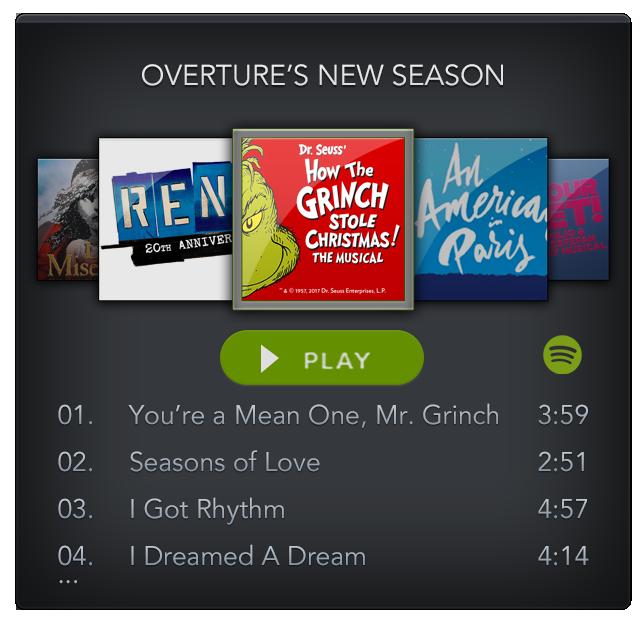 Spotify Mini Player: Overture's 2017 Season