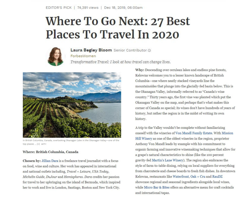 Forbes December 2019 Where to Travel