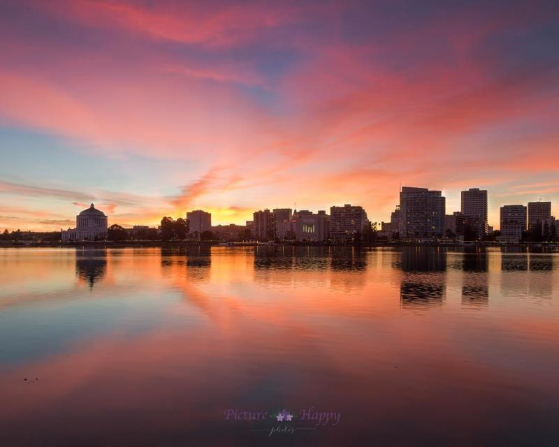 Sunset and cityscape view from Lake Merritt