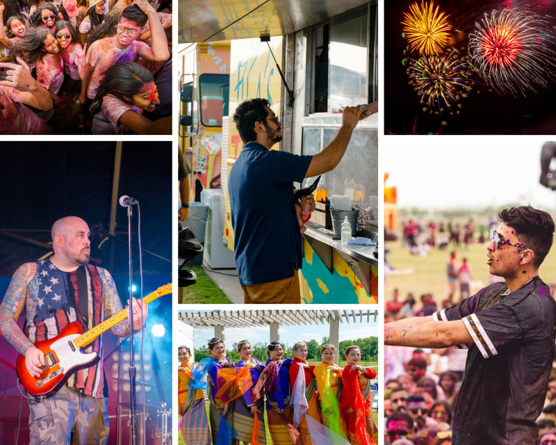 Collage of events that have occurred at the Crown Festival Park at Sugar Land.