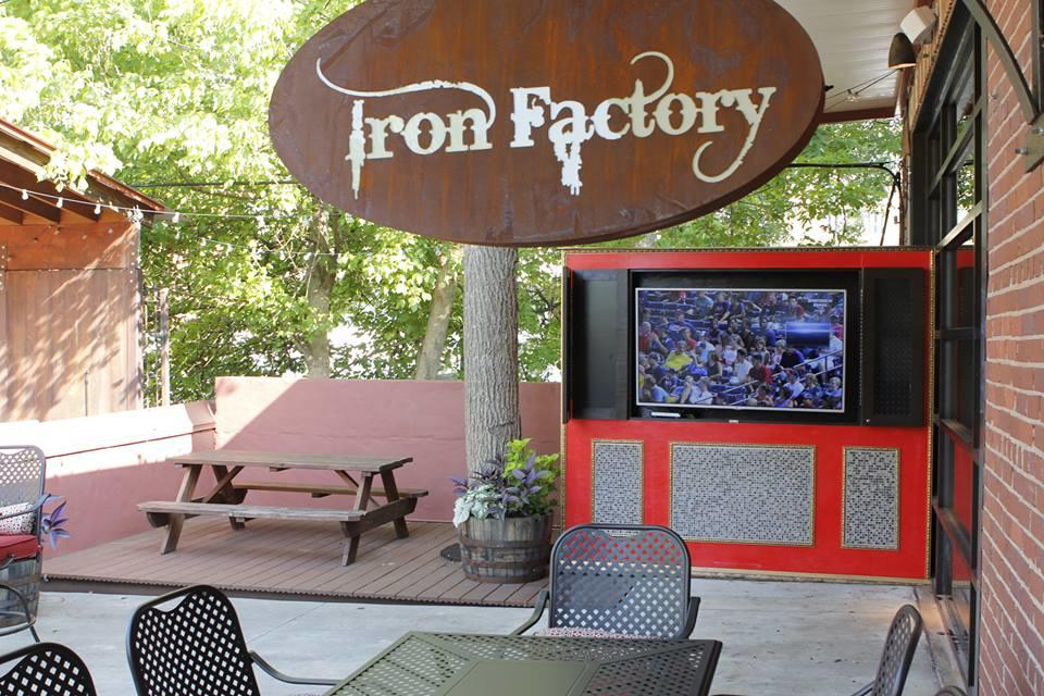 Outdoor dining area at Iron Factory in Athens, GA