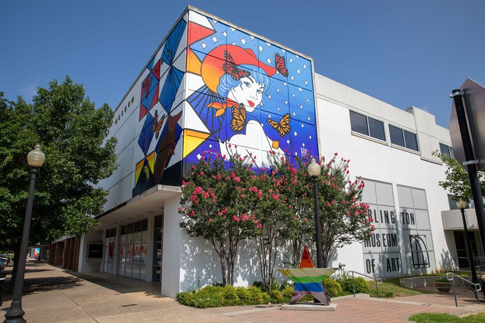 Photo of cowgirl butterfly mural outside of Arlington Museum of Art