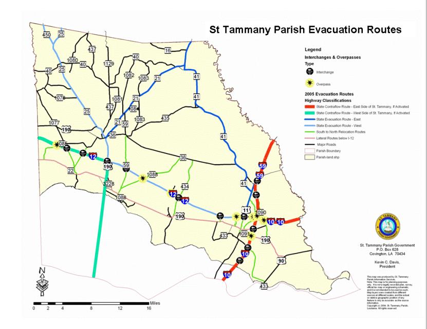 St. Tammany Hurricane Evacuation Route