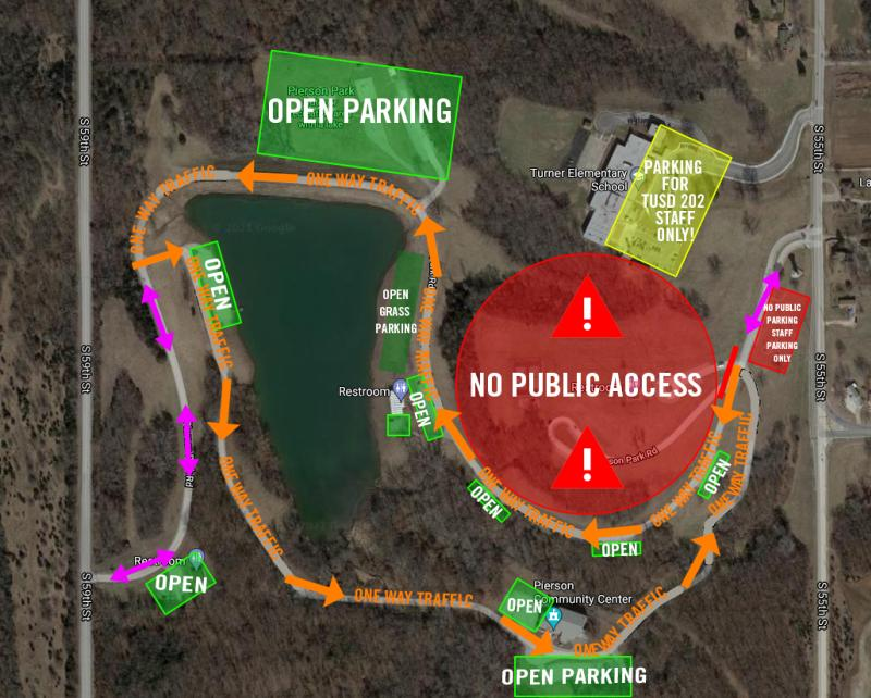 Map of park with one way traffic