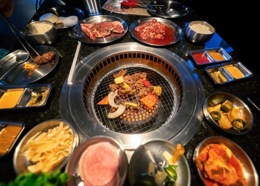 The table-top grill is ready to go at Stone Age Korean Steakhouse, a Korean BBQ restaurant.