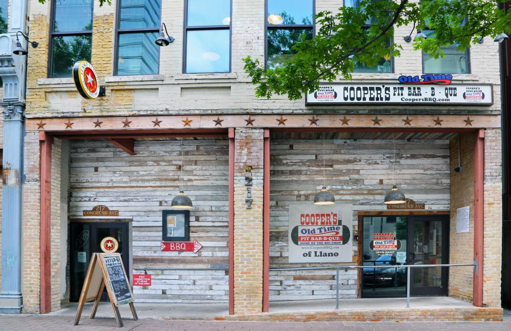 Exterior of Coopers Old Time Pit Barbecue in downtown Austin Texas