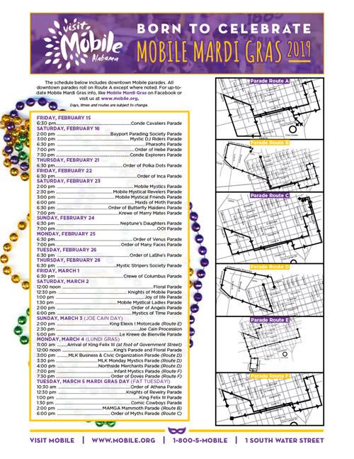 Mardi Gras Schedule 2019
