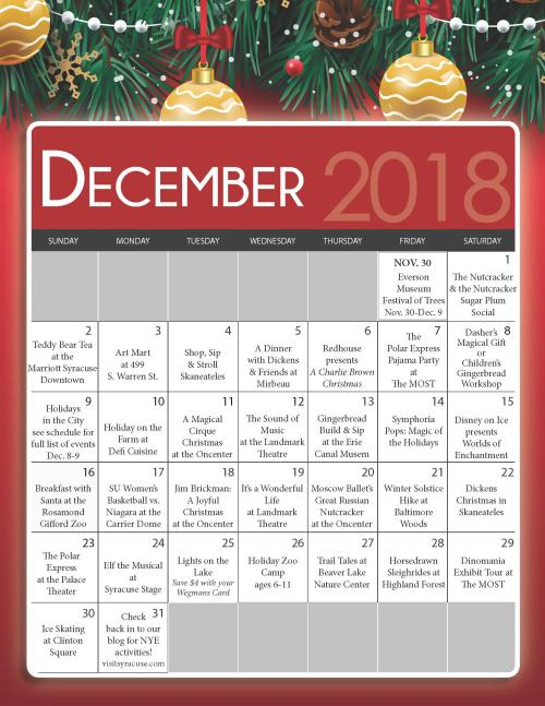 December Holiday Event Calendar