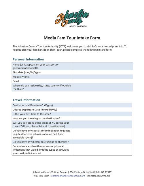 Media Fam Tour: Intake Form