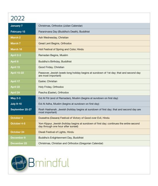 BMindful 2020 Calendar