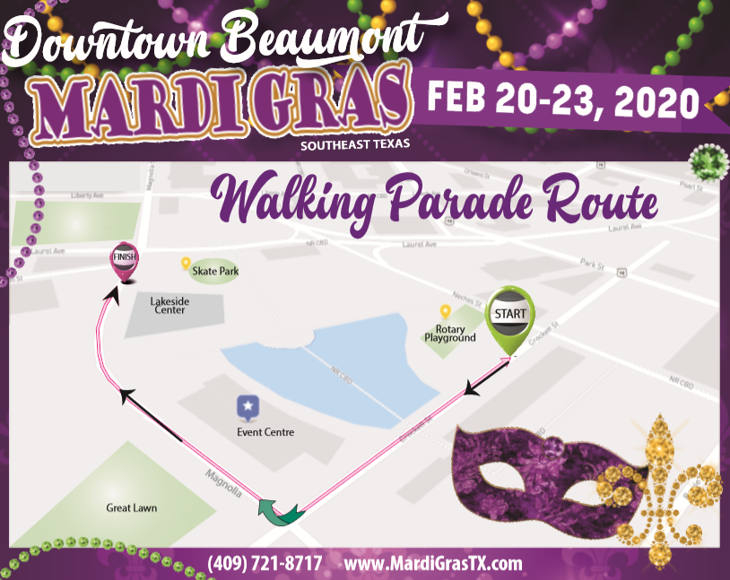 Downtown Beaumont Mardi Gras Walking Parade Route Map