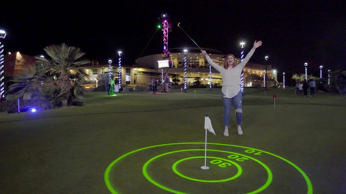 Amy Harrington playing night golf