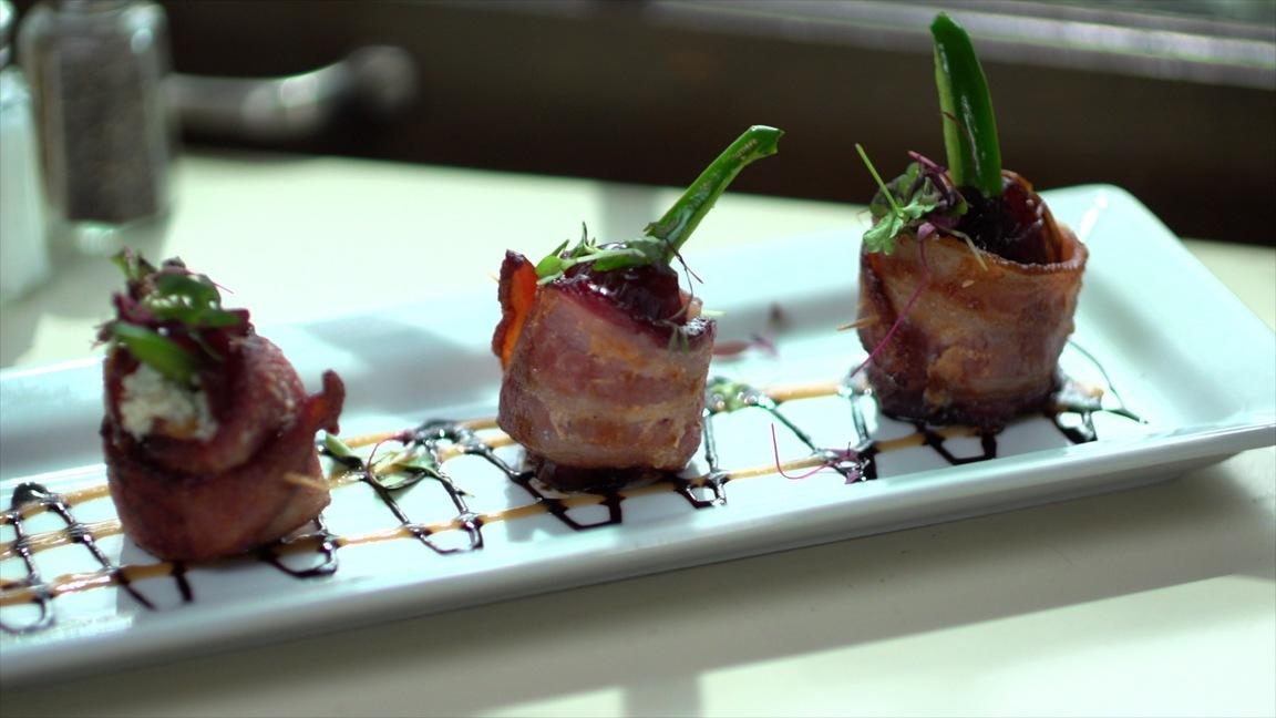 Bacon wrapped dates from Shields Cafe