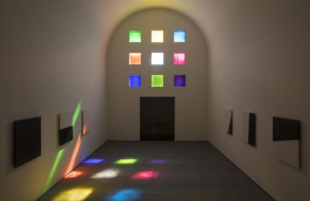 Artist Ellsworth Kellys designed building with installation of colored glass windows at the Blanton Museum in austin texas