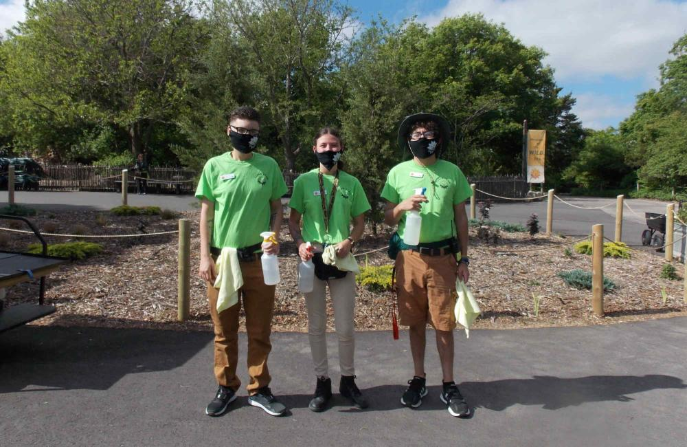Sedgwick County Zoo Staff with Masks and Cleaning Supplies