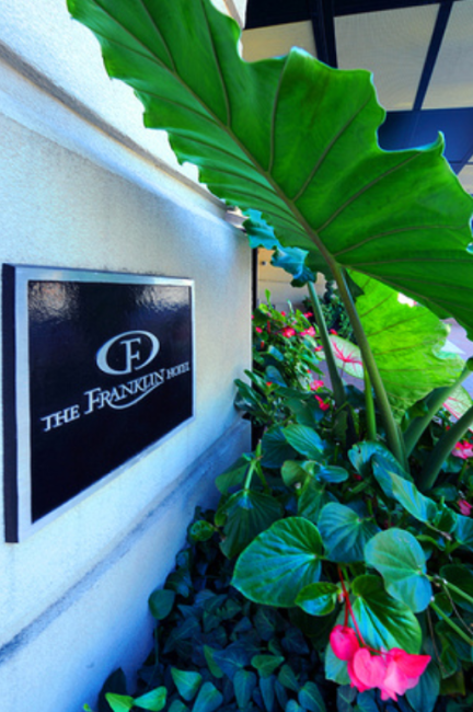 The Franklin Hotel Front Sign and Flower Box