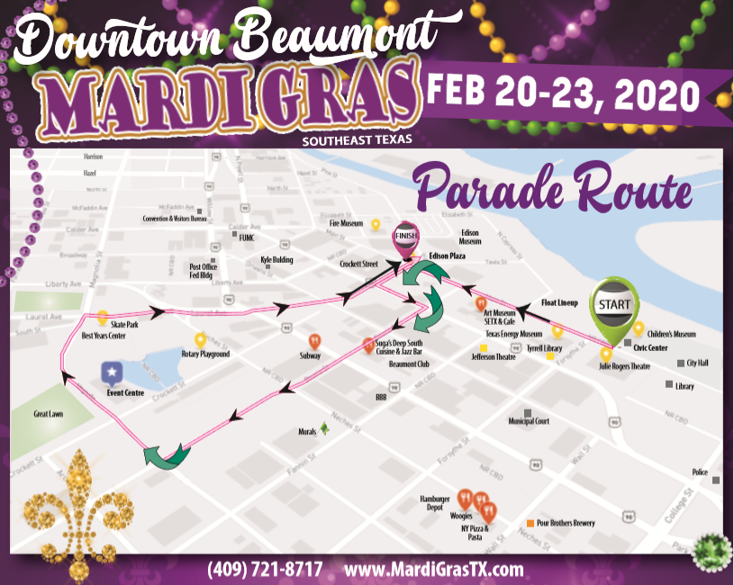 Downtown Beaumont Mardi Gras Flyer
