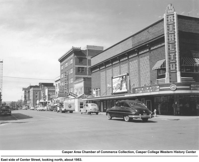 A picture of Center Street in downtown Casper taken in 1953.