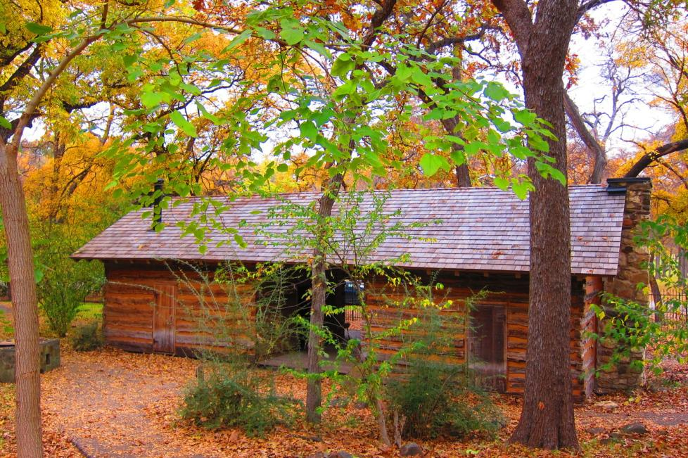 Parker Cabin at Log Cabin Village in the fall