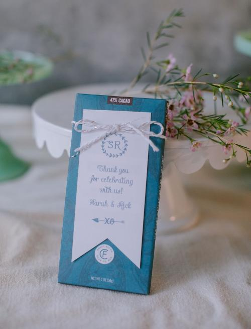 Chocolate bar from Clif Family in Napa Valley as a wedding favor