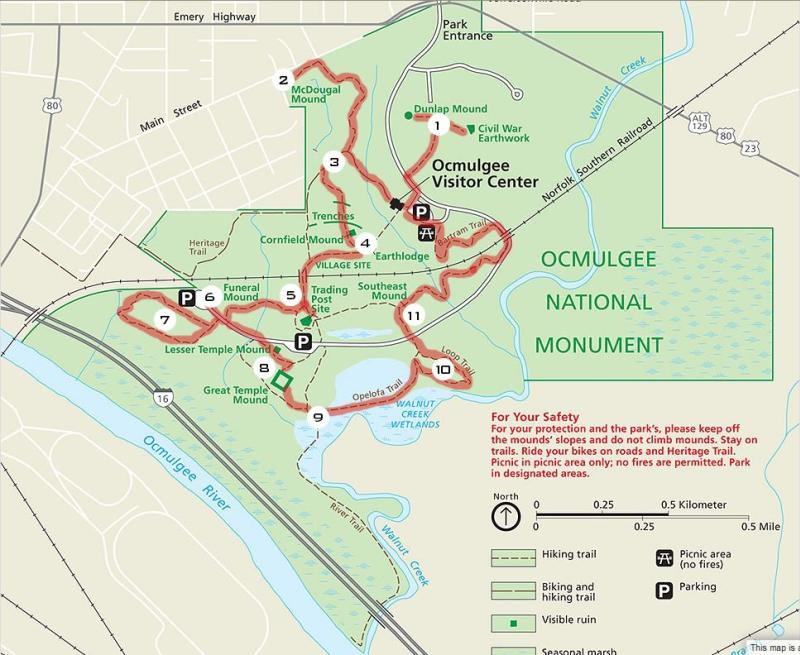 Map of Ocmulgee Mounds National Historical Park