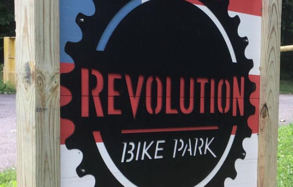 Revolution Bike Park sign