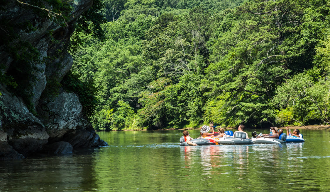 A group of people floating on the Chattahoochee River