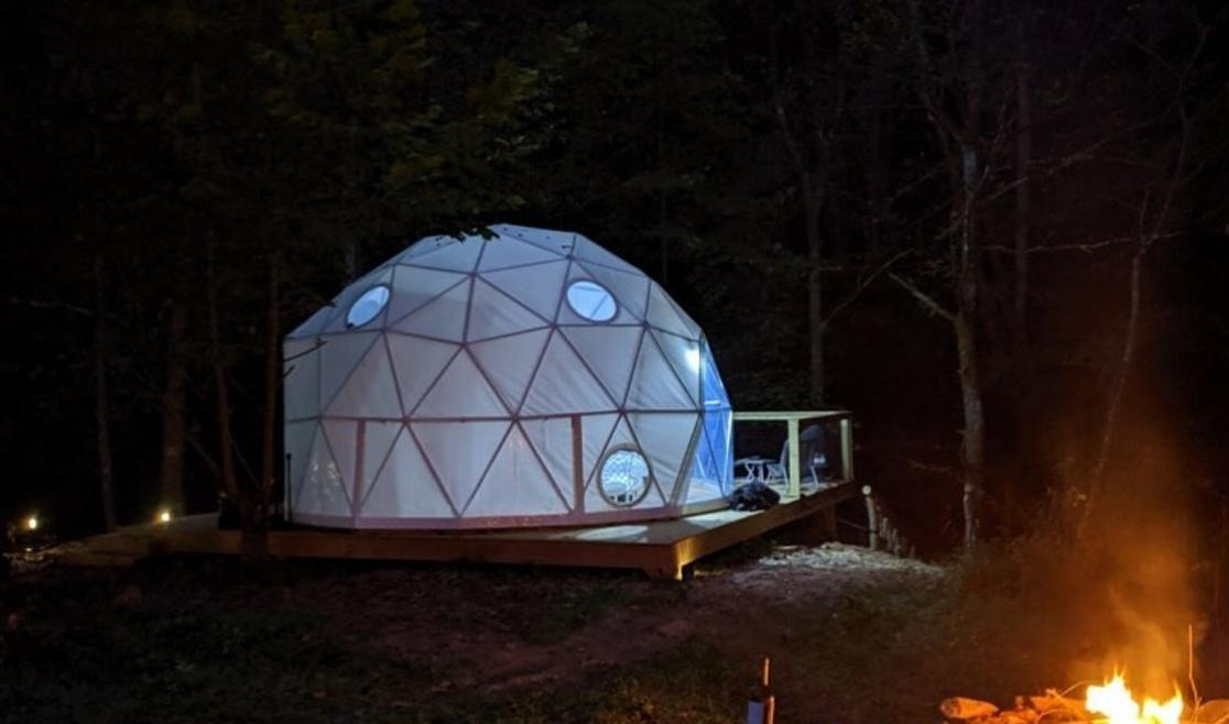 Glamping Unplugged Dome at Night
