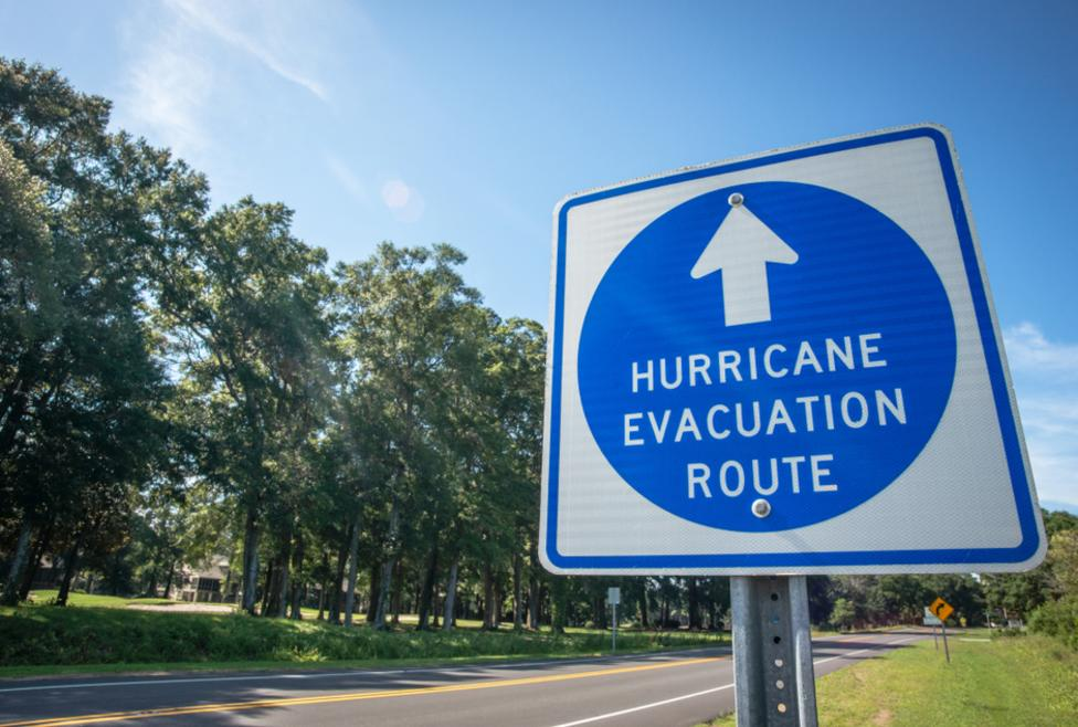 Hurricane Evacuation Hotel sign
