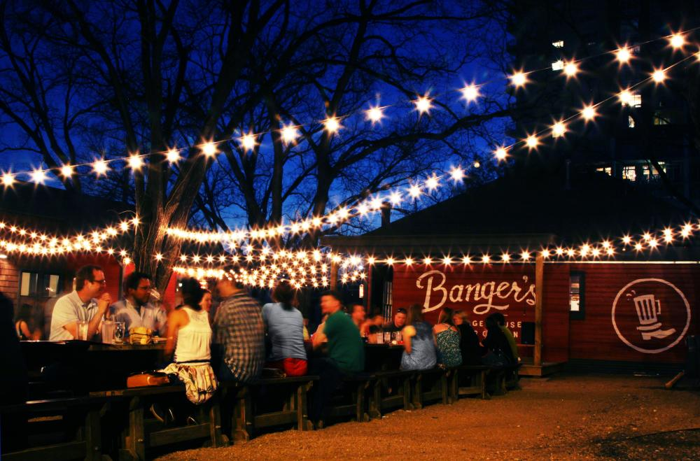 Bangers Sausage House and Beer Garden at night