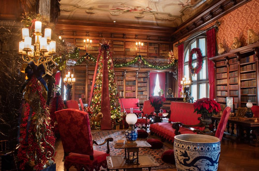 The Library at Biltmore decorated for Christmas