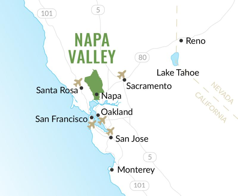 Airports near Napa Valley, California map