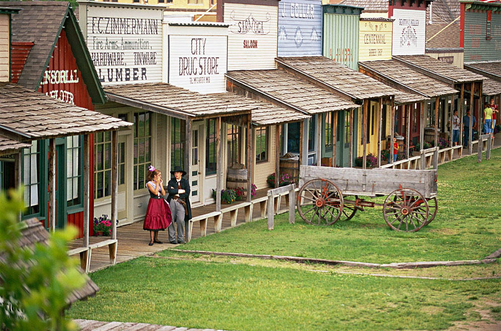 People in period costumes at Boot Hill Museum in Dodge City, Kansas