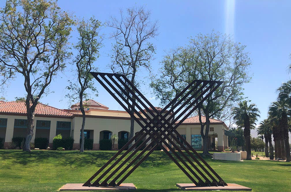Sculpture outside of Cathedral City Library