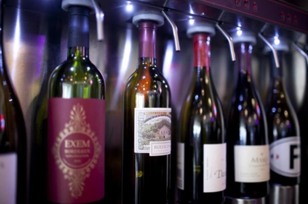 Wine bottles at Crush Wine Bar & Deli
