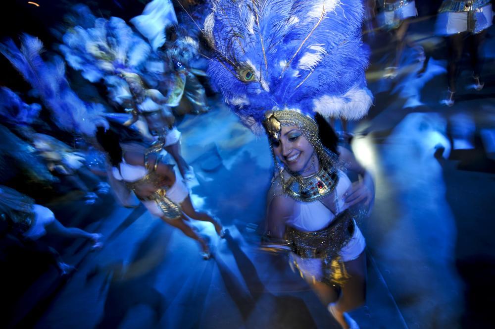 Dancer in costume at Carnaval Brasileiro in austin texas