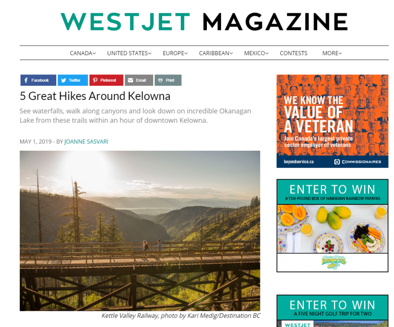 May 2019 Westjet Magazine Great Hikes
