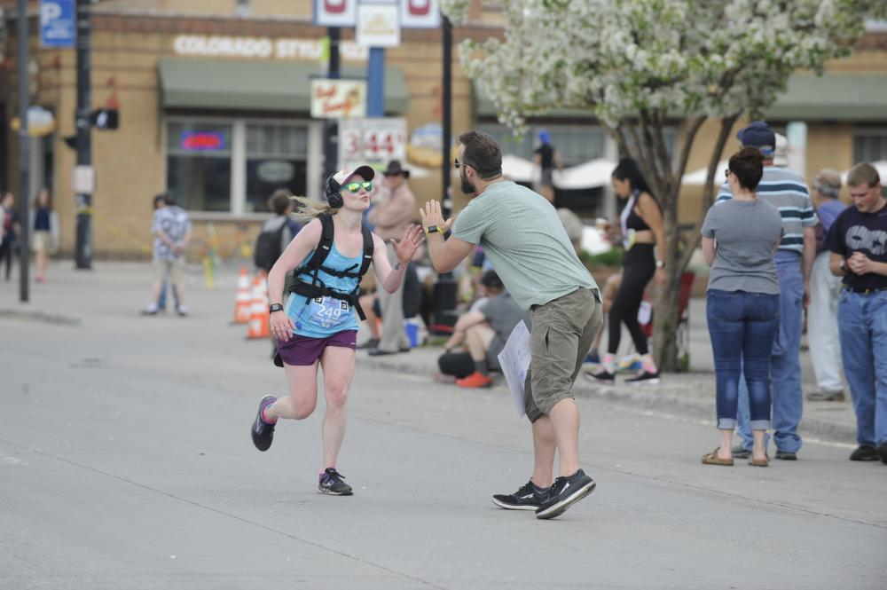 Runners nears the finish line at the Steamboat Marathon, Half and 10K