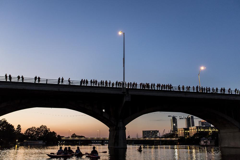 Sunset over the Congress Avenue Bridge