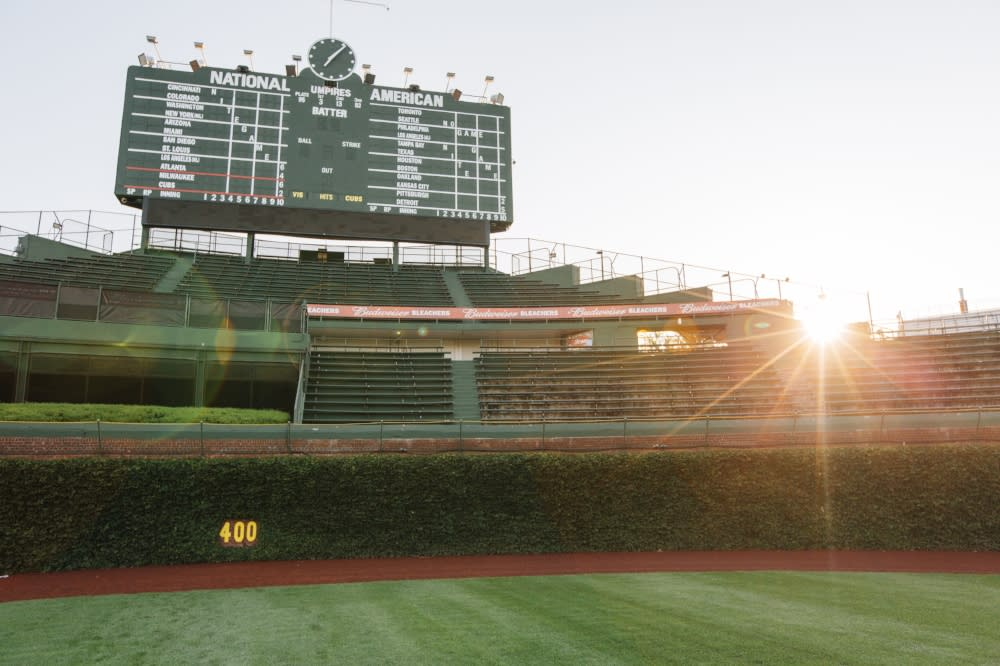 Scoreboard at Wrigley Field in Chicago
