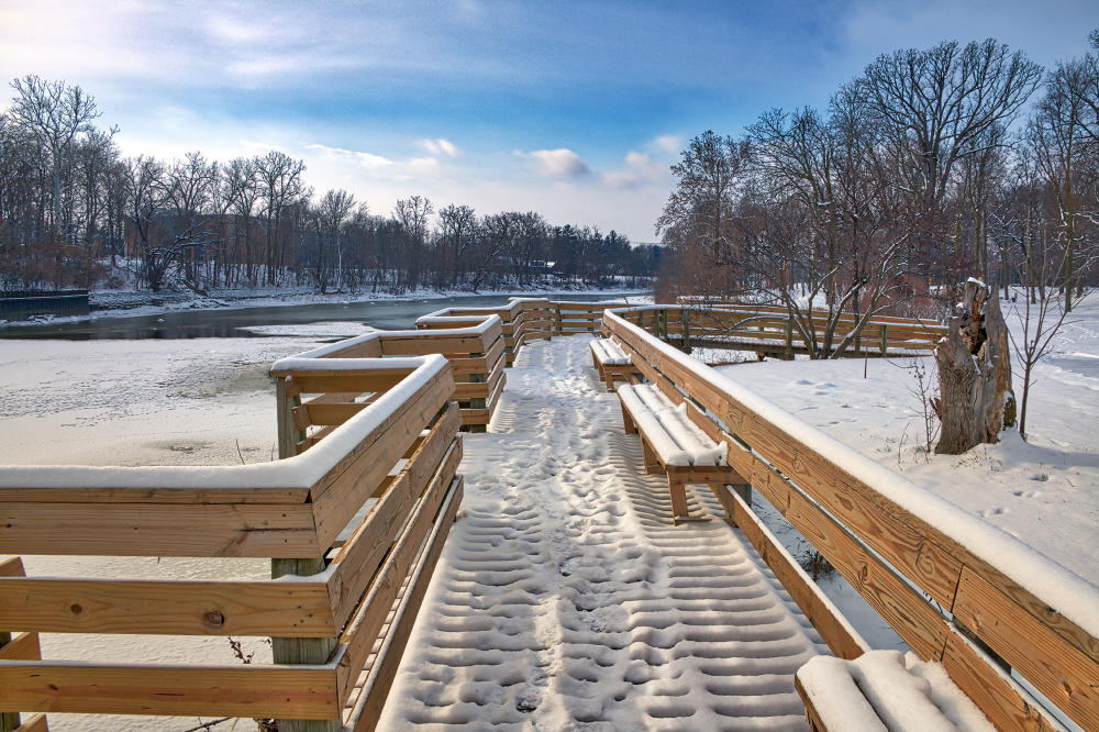 Winter Scene in Fort Wayne - St. Joseph River Overlook in Fort Wayne, Indiana