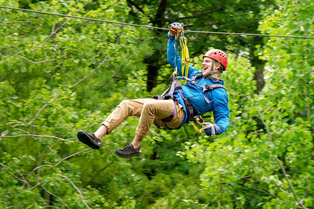 Ziplining through the forest