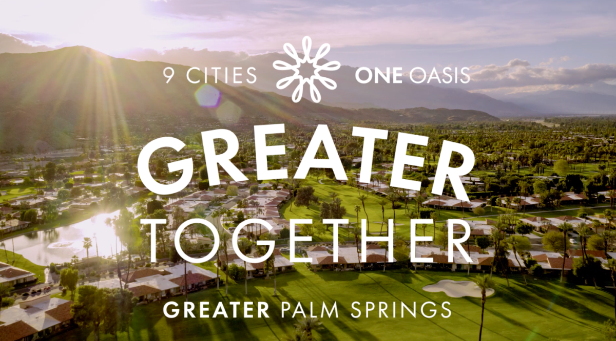 Greater Together Text over Greater Palm Springs