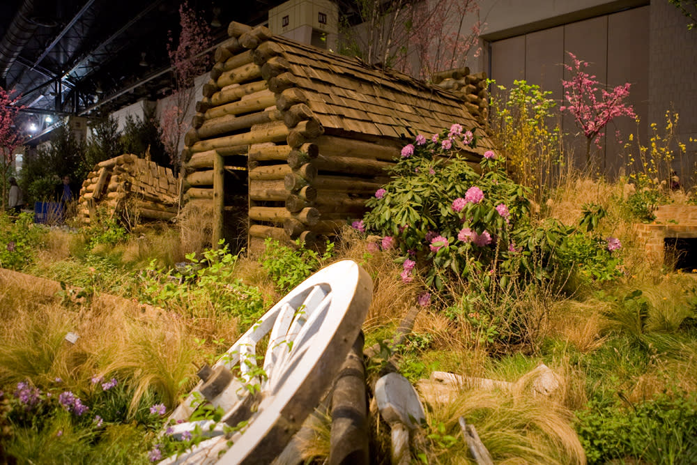 Hunter Hayes Landscape Design's 2016 entry include Valley Forge inspired huts
