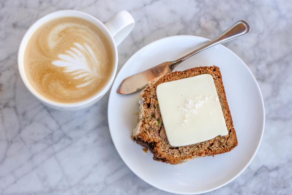 Zucchini Bread and Coffee from Launderette.
