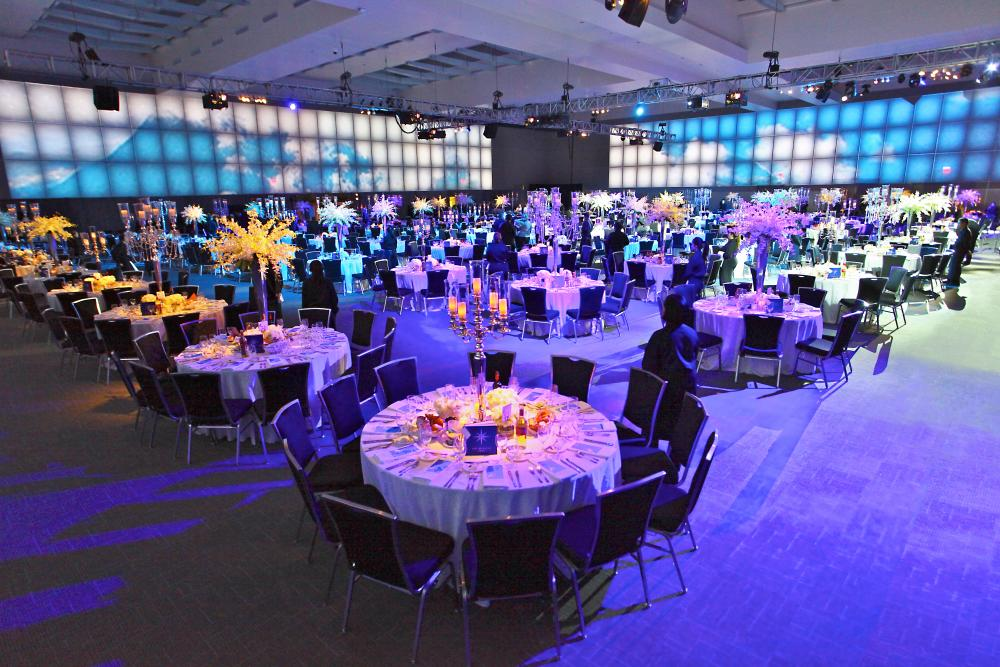 The Austin Convention Center with tables set for catering